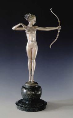 Fine Art - Sculpture, European:Modern (1900 - 1949), An Austrian Art Deco Silvered Bronze Figure: Diana. JosefLorenzl (1892-1950), Austria. Circa 1920-30. Silvered and c...