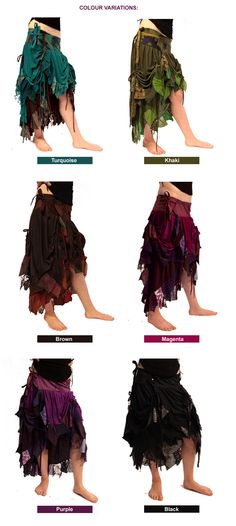 HIGH-FRONT RAGGED BURLESQUE PIXIE STEAMPUNK WRAP SKIRT psy trance 8 10 12 14 16