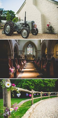 I love love love the tractor and the decorated fence....Timber Line Barn's fence would be so easy to do like this! Wedding Reception Flowers, Church Wedding Decorations, Wedding Ceremony, Wedding Venues, Wedding Ideas, Wedding Themes, Wedding Inspiration, Chic Wedding, Floral Wedding