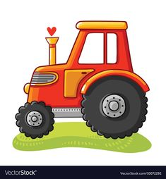 Cute tractor in a clearing. Tractor rides on the field on a white background. Vector illustration in cartoon style. Cartoon Drawings, Cartoon Art, Cute Drawings, Cute Cartoon, Cartoon Background, Art Background, Tractor Clipart, Tractor Drawing, Tractors For Kids
