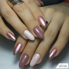 Two tone nails are very popular nowadays. You must have seen many models and celebrities show off beautiful manicured nails with the coolest two tone nail designs on them. As the name suggests, two tone nails art means that the wearer uses two differ White Gel Nails, Pink Nails, Glitter Nails, Pink Glitter, Hair And Nails, My Nails, Fall Nails, Two Tone Nails, Nagellack Trends