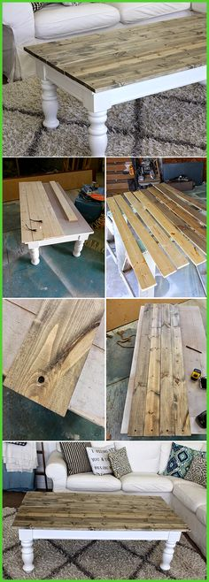 Farmhouse style coffee table once the legs were painted i measured and cut wood to the length i needed i cut it 1 inch longer than the actual top so it would hang over about a half inch on either side i used finished grade pine after cutting i sanded t Refurbished Furniture, Farmhouse Furniture, Rustic Furniture, Furniture Makeover, Diy Furniture, Farmhouse Decor, Repurposed Furniture, Business Furniture, Outdoor Furniture