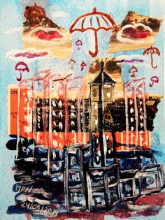 Cities Parapluie City by mpn a well protected place Collage with gouache and ink Wall Art Prints, Canvas Prints, City Gallery, Hologram, Gouache, Dark Art, Metal, Canvas Art, Collage
