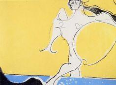 OSVALDO LICINI   Angelo ribelle su fondo giallo, 1952