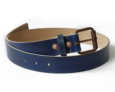 Mens Handmade Dark Blue Leather Belt, Copper Buckles and Rivets via #Etsy
