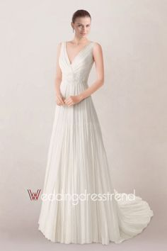 Airy Straps Empire Chiffon Bridal Gown Featuring Delicate Applique and Fancy Court Train
