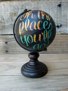 Mini Black Hand-Painted Globe - Oh, the places you'll go!