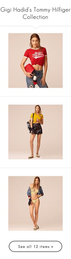 """""""Gigi Hadid's Tommy Hilfiger Collection"""" by polyvore-editorial ❤ liked on Polyvore featuring tommyhilfiger, gigihadid, tops, hoodies, hoodie crop top, white tops, cotton hoodies, kangaroo pocket hoodie, cropped hoodie and pink shirts"""