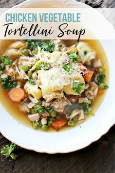 Homestyle tortellini soup loaded with savory broth, tender chicken, and hearty vegetables. #tortellinisoup #chickensoup Creamy Soup Recipes, Chowder Recipes, Healthy Soup Recipes, Chili Recipes, Vegetable Recipes, Pasta Recipes, Chicken Recipes, Yummy Recipes, Cheese Tortellini Soup