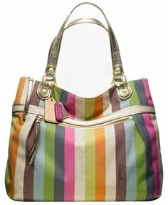 Coach Rare Large Poppy Legacy Stripe Gold Leather Glam Multicolor Tote Bag $219