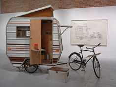 "The camper is part of an art exhibit called ""in the weeds"" by Kevin Cyr. very cool looking and has gotten a great deal of interest in this ideal of a mini bicycle camper. They were not really meant to be used in any kind of a practical sense, just for show as an art exhibit."