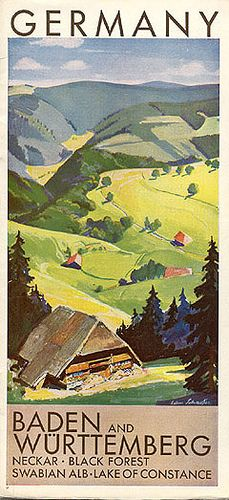 "Travel brochure ""Germany - Baden and Württemberg,"" Published by . Tourism Poster, Poster S, Poster Prints, Black Forest Germany, Honeymoon Tips, Travel Brochure, Old Postcards, Vintage Travel Posters, Germany Travel"