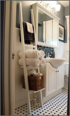 Winsome Modern Bathroom Ideas with Decorative Towels For Bathroom and Wooden White Towel Ladder Rack Ideas