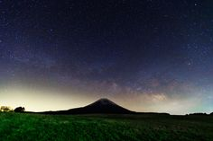 """Mt.Fuji in Milkyway by MIYAMOTO Y, via 500px """"I took Mt.Fuji with night sky after the rain in late night. This location is about 1000 meters above the sea. (taken at 2:37 AM)"""""""