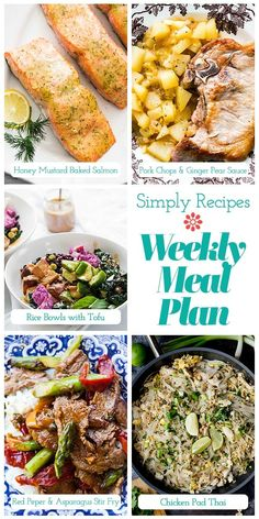 Simply Recipes 2019 Meal Plan: December Week 2! This week's meal plan is all about eating something familiar with a possibly new-to-you flavor. Dig into Honey Mustard Baked Salmon, Pork Chops with Ginger Pear Sauce, Black Rice Bowls with Tofu, Flank Steak Stir Fry, and Chicken Pad Thai! #simplyrecipes #weeknightdinnerrecipes #weeklymealplans #whatsfordinner #easyweeknightdinners #feedingfamilies Honey Recipes, Simply Recipes, Salmon Recipes, Whole Food Recipes, Dinner Recipes, Cooking Recipes, Easy Delicious Recipes, Healthy Recipes, Easy Recipes
