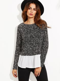 Black Marled Sweatshirt With Contrast Ruffle Trim : $9.89