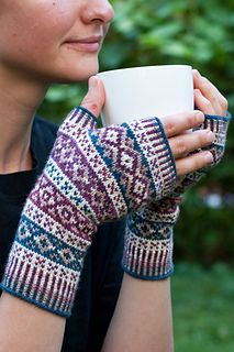 Designed for mini-skein sets, or an excellent stash-busting project, these fingerless mitts feature corrugated ribbing, Fair-Isle motifs, and simple shaping. Fair Isle Knitting Patterns, Fair Isle Pattern, Knitting Designs, Knitting Projects, Fingerless Gloves Knitted, Knit Mittens, Mittens Pattern, Wrist Warmers, Knitting Accessories