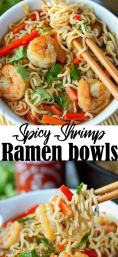 These Spicy Shrimp Ramen Bowls have tender shrimp, crisp veggies and spicy Sriracha! Spicy Shrimp Ramen Bowls - Shrimp Ramen bowls will bring a cheap meal to the next level. Tender shrimp, crisp veggies and spicy Sriracha! Seafood Recipes, Soup Recipes, Cooking Recipes, Tai Food Recipes, Family Recipes, Cheap Meals, Easy Meals, Inexpensive Meals, Spicy Shrimp