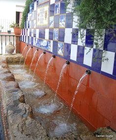 El chorro y el lavadero, ISTÁN  Málaga.  ES. Patio, Sierra, Andalucia, Water Features, Alcoholic Drinks, Spanish, Outdoors, Exterior, Sun