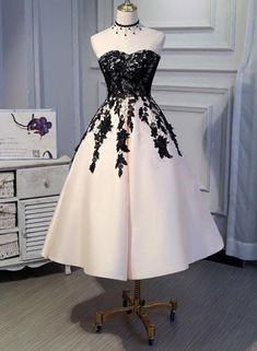 Tea Length Satin with Lace Vintage Prom Dress 2018, Ball Gown, Elegant Formal Dresses,#promdress2018