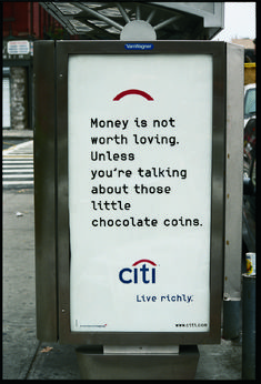 Citibank_Fallon_Live Richly_Chocolate coins Copy Ads, Tone Of Voice, Chocolate Coins, Theme Days, Emotional Connection, Still Working, Copywriting, Print Ads, Helping People