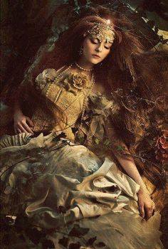 Sleeping lady with long red hair