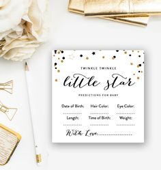 Baby Shower Activity Predictions for Baby Twinkle Twinkle Little Star Instant Download Printable