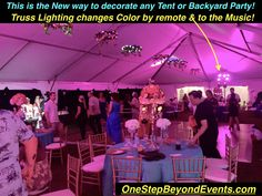 New style for Tent Event Lighting Our Backyard Tent Wedding LED Lighting Bars are Spectacular! We do all the work! Draping the backyard with colored Downlighting is Amazing! Elegant Light Up LED Table Event Lighting, Outdoor Lighting, Wedding Lighting, Uv Black Light, Light Up, Lounge Furniture, Table Furniture, Backyard Tent Wedding, Glow Table