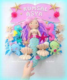 felt mermaid, deniz kızı, deniz kızı kapı süsü, bebechocolate, fetro, felt doll, mermaid, bebek kapı süsü, русалка, фетр, именное панно, кукла, русалочка