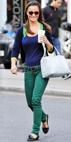 Pippa Middleton brightened up London in green denim, a navy tee, two-tone Kate Spade New York cardigan, leather Tory Burch bag and tasseled flats.