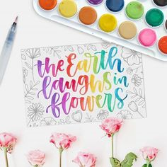 Something different from what I usually do :) I doodled some flowers with a Micron pen, scanned it, lightened it, and digitally arranged it around the rainbow lettering. This is for day 16 of . Watercolour paint used: Watercolor Hand Lettering, Brush Lettering Quotes, Hand Lettering Alphabet, Calligraphy Letters, Modern Calligraphy, Pencil Calligraphy, Watercolor Paper, Lettering Tutorial, Lettering Design