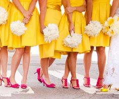 A little imagination goes a long, long way. This bride has paired buttercup yellow with fuchsia/vivid pink and it works brilliantly. Who'd a thunk it? And check out her yellow shoes. It's perfect for a summer wedding. What colour scheme… Read more ›