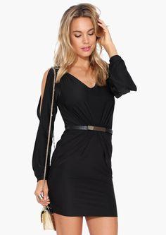 Zoe Belted Little Black Dress