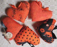 Primitive Halloween/Fall HEART Bowl Fillers Heart Pillow Tucks HALLOWEEN Orange #NaivePrimitive #artist