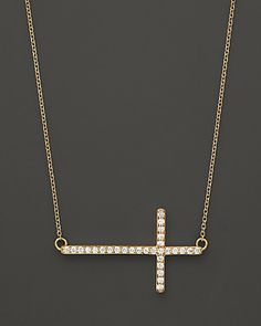 Diamond Sideways Cross in 14K Yellow Gold, .25 ct. t.w. | Bloomingdale's