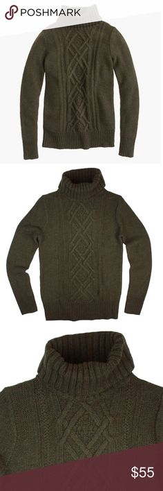 """New JCREW Loden Cambridge Cable Turtleneck Sweater This new Loden green Cambridge cable knit sweater from JCREW features a turtle neckline. Made of a wool blend. Measures: bust: 33"""", total length: 25"""", sleeves: 24"""" J. Crew Sweaters Cowl & Turtlenecks"""