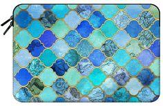 Casetify Macbook Pro 15 MacBook Tasche - Cobalt Blue, Aqua & Gold Decorative Moroccan Tile Pattern by Micklyn Le Feuvre Cobalt Blue, Aqua, Tech Accessories, Moroccan, Macbook Pro, Casetify, Pattern, Tile, Painting