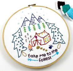Camping Forest Woods Camp Travel Hand Embroidery by lovahandmade