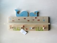 Whale Nursery Decor: Eco-Friendly Whale Shelf & Hook Rack