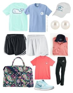 Preppy t shirts and Nike shorts featuring Southern Tide, NIKE, Vera Bradley, Henri Bendel and Vineyard Vines Lazy Outfits, Cute Comfy Outfits, Sporty Outfits, Teenager Outfits, Teen Fashion Outfits, Athletic Outfits, Outfits For Teens, Spring Outfits, School Outfits