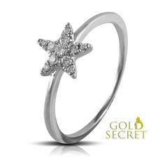 Dreams Secret of Star by Gold Secret. Sortija Oro Blanco de 18 k. Dreams, Engagement Rings, Star, Gold, Accessories, Shopping, Jewelry, Fashion, White Gold