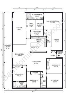 The Absolute Best 5 Bedroom Barndominium Floor Plans Metal House Plans, Pole Barn House Plans, Pole Barn Homes, New House Plans, Dream House Plans, Small House Plans, Metal Building Homes, Metal Homes, Building A House