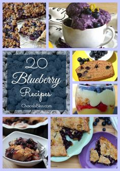 Blueberry pie, blucchini bread, cobbler and more - 20 Blueberry Recipes | ChaosIsBliss.com