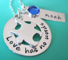 autism awareness beads | Autism awareness sterling silver hand stamped jewelry.