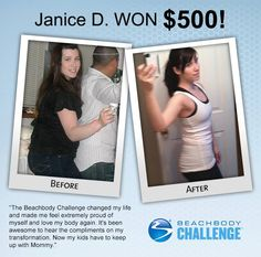 ::06/07/13:: This mother of two says that losing 58 lbs in the #BeachbodyChallenge literally saved her life. If you read her story here, you'll see what she means. DON'T FORGET TO ENTER YOUR RESULTS TODAY! You could be the next winner. REPIN IF YOU THINK YOU GOT WHAT IT TAKES!