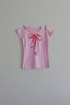 Newest item in the shop! Screen print handmade girl bow t-shirt