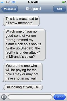 Texts From the Normandy Crew. This is terrible. Hahaha