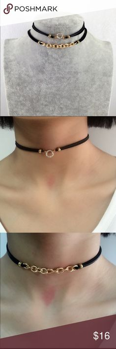 2/pcs Chain Choker Trendy  Multilayer Black Choker. 2 pieces. Jewelry Necklaces