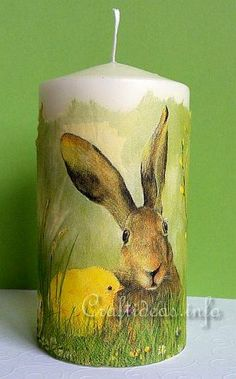 Ostara Candle DIY - A plain white candle and a decorative paper napkin are all you need!