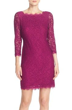 Free shipping and returns on Adrianna Papell Lace Overlay Sheath Dress (Regular & Petite) at Nordstrom.com. Delicate fringed eyelash trim finishes the scalloped edges of a gorgeous lace overlay that covers a slim boatneck sheath with sheer three-quarter lace sleeves.